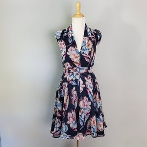 French Connection Chiffon Fit & Flare Floral Dress